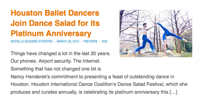 Houston Ballet on the Dance Salad Menu