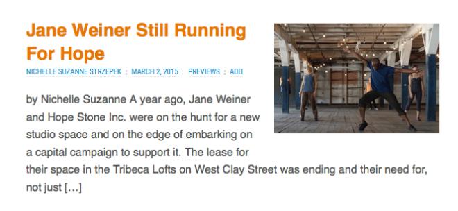 Jane Weiner's Next Steps