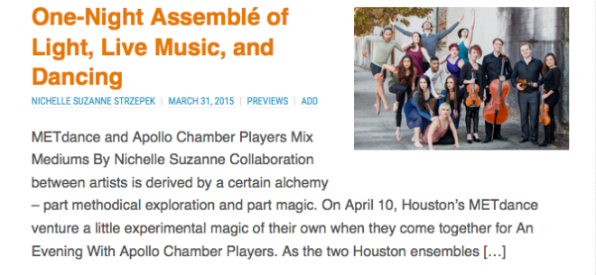 METdance and Apollo Chamber Players
