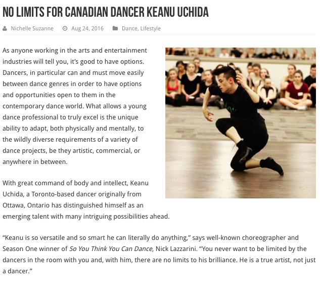 No Limits for dancer Keanu Uchida