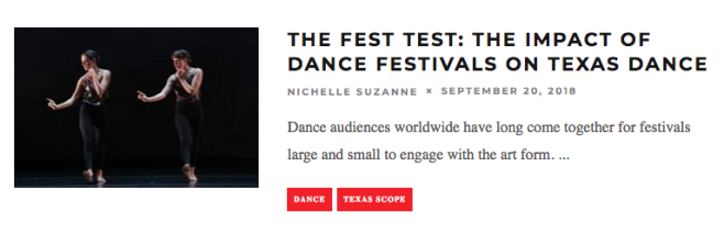The Fest Test: The Impact of Dance Festivals on Texas Dance