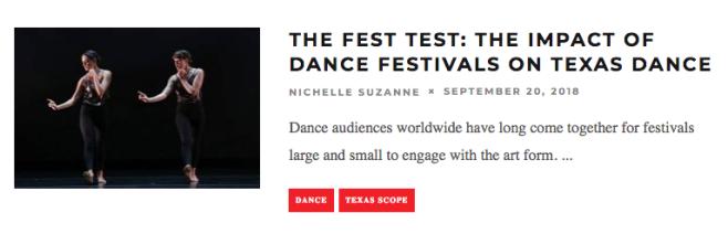 The Fest Test: The Impact of Dance Festivals on Texas Dance