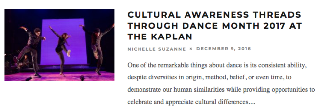 Cultural Awareness Threads Through Dance Month 2017 at the Kaplan