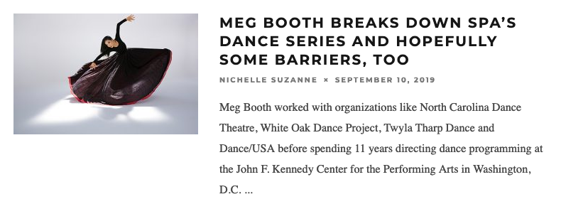 Meg Booth Breaks Down SPA's Dance Series and Hopefully Some Barriers, Too